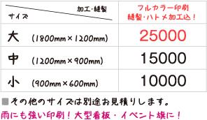 ターポリン・バナー/フラッグ料金表