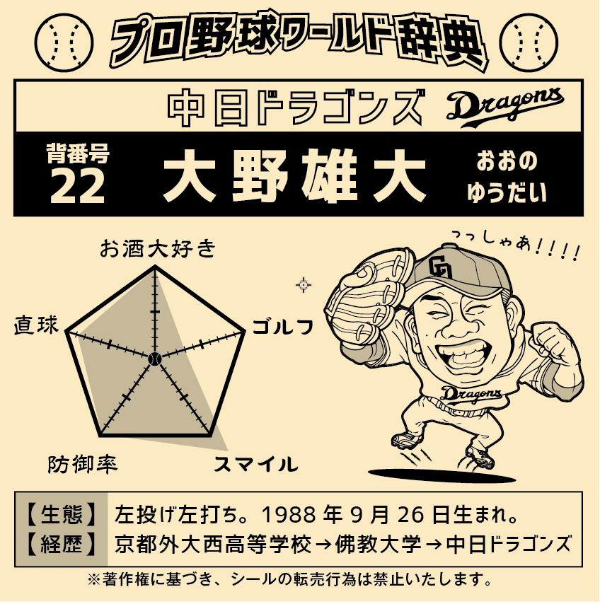 中日ドラゴンズ 大野雄大選手 キラキラシール
