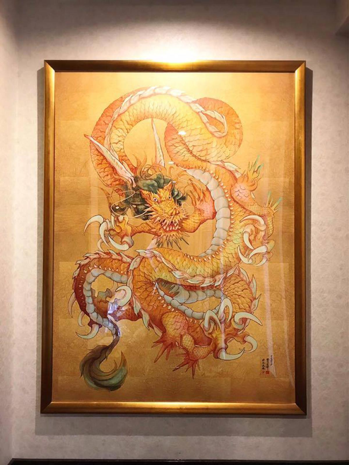 日本画イラスト『黄金龍』